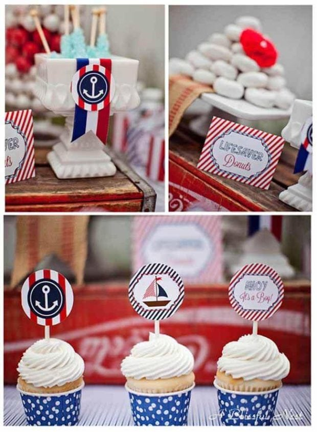 Nautical Themed Birthday Party Cupcakes