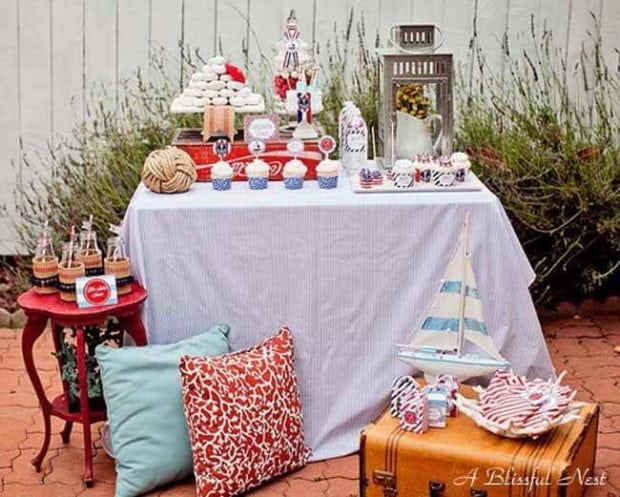 Nautical Themed Birthday Party Dessert Table