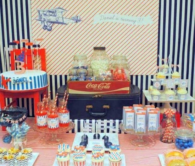 Vintage Plane Airplane Themed Birthday Dessert Table