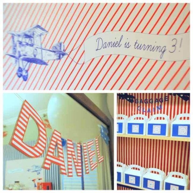 Vintage Airplane Themed Birthday party Decortions