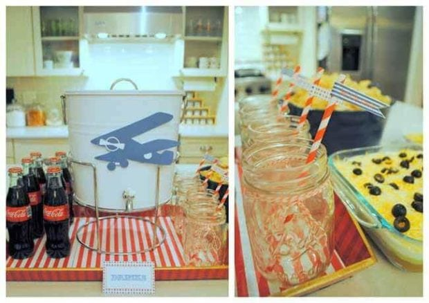 Vintage Airplane Themed Birthday party Drinks Station