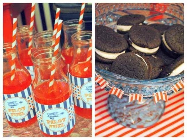 Vintage Airplane Themed Birthday party Cookies and drinks
