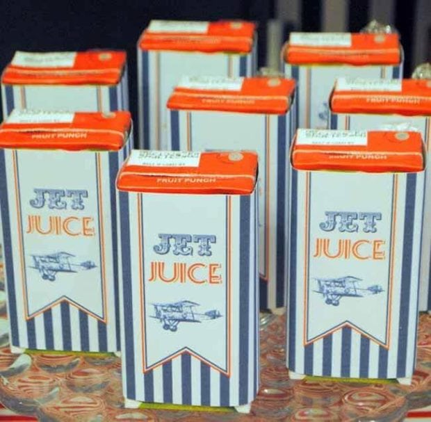 Vintage Airplane Themed Birthday party Drink Juice Boxes