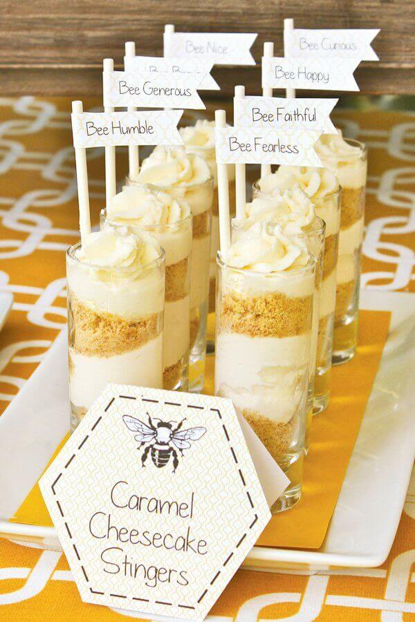 Boys Bumble Bee Birthday Party Food Caramel Chocolate Shooters