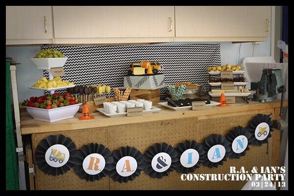 Boys Construction Themed Party Dessert Table Idea