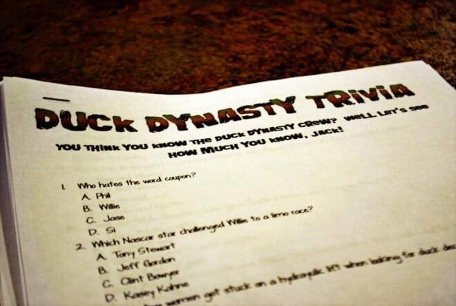 Boys duck dynasty party game ideas