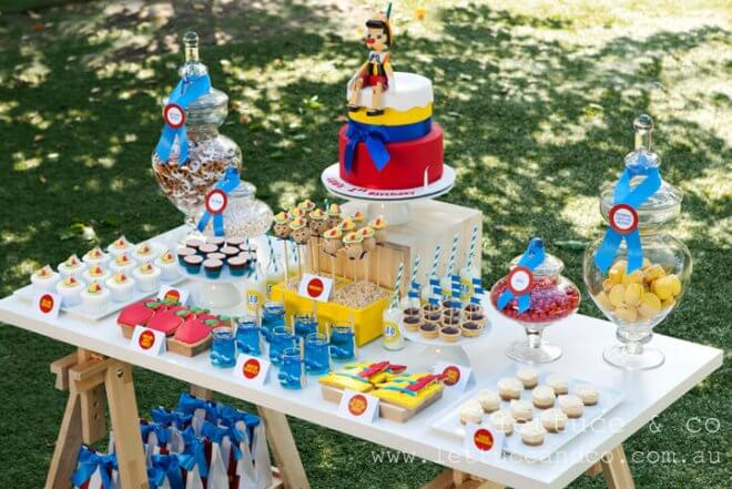 Pinnochio Themed Birthday Party Dessert Table