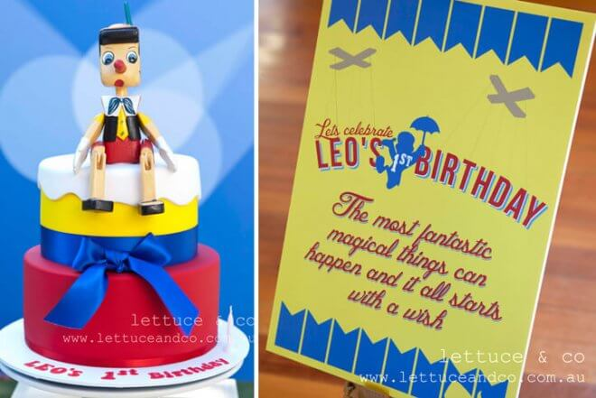Pinnochio Themed Birthday Party Invitations