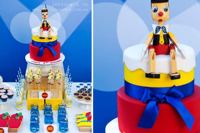Pinnochio Themed Birthday Party Cake Ideas