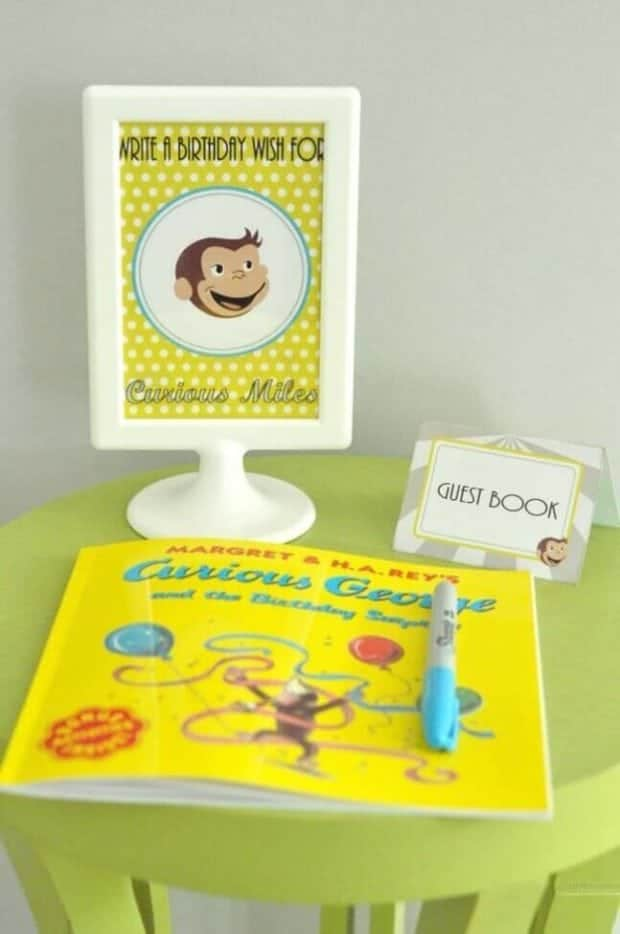 Guests at this Curious George birthday party left special messages for the birthday boy.