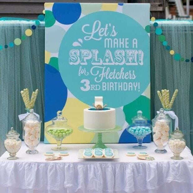 Pool Party Birthday Party Dessert Table