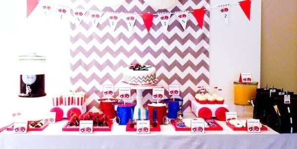 Boys VIntage Themed racecar themed birthday party dessert table