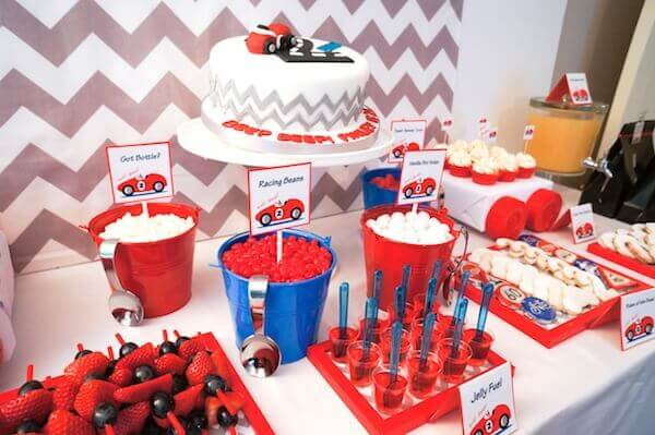 Boys Vintage Racecar Themed party food candy ideas