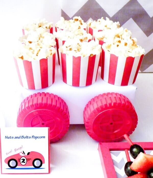 Boys Vintage Themed Racecar popcorn party food