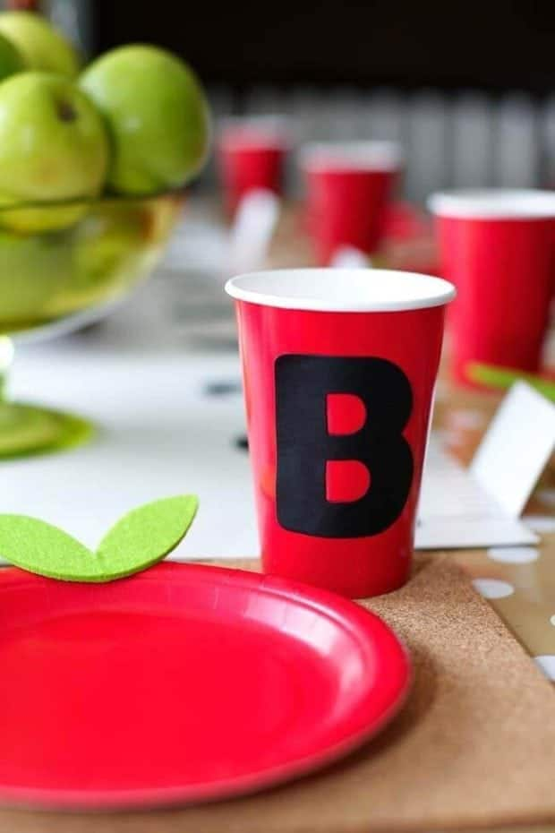 Back to school party drink cups
