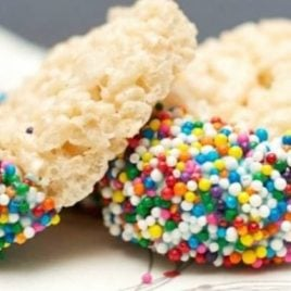 A close up of many different types of food, with Sprinkles