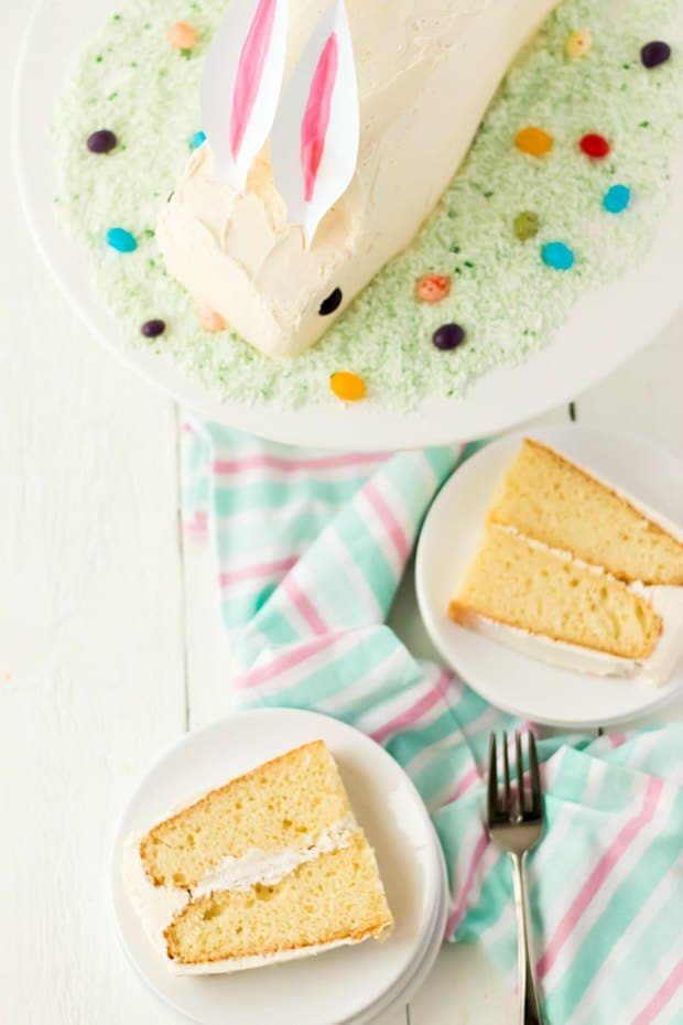 A slice of cake on a plate, with Egg and Betty Crocker