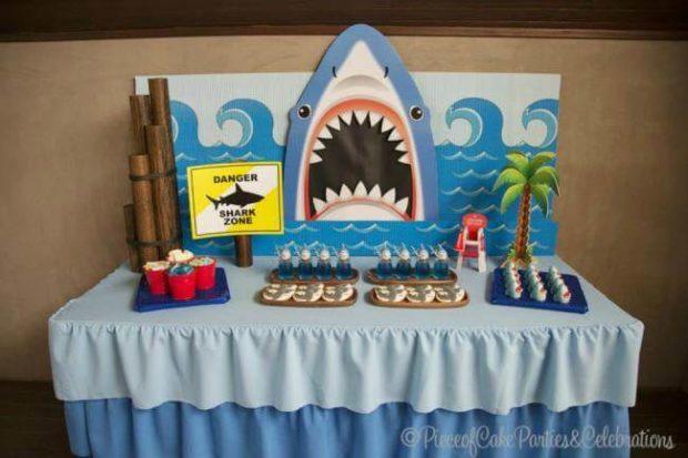 Boy s shark themed beach bash birthday party spaceships