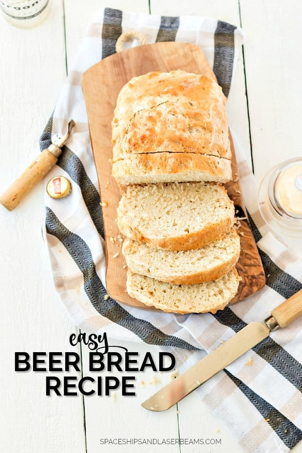 sliced beer bread on a cutting board