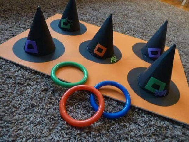 halloween witch hat toss - Game Ideas For Halloween Party