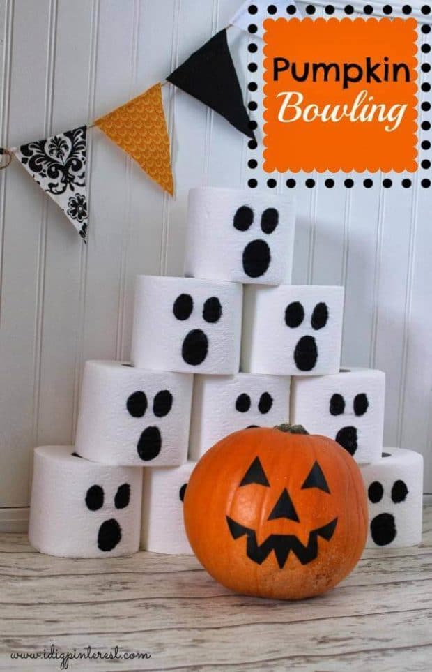 pumpkin bowling party game - Game Ideas For Halloween Party
