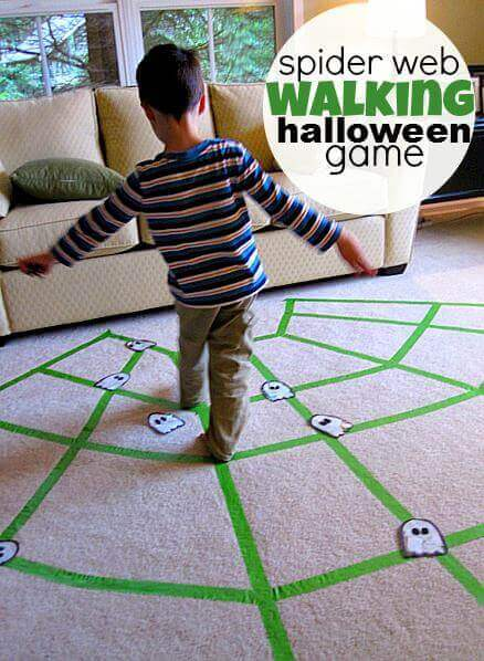 Halloween Party Game Spider Web Walking Game