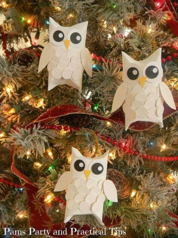 toilet paper roll crafts snow owl - Childrens Christmas Ornaments