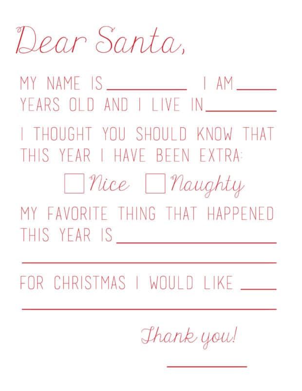 Lovely Dear Santa Letter  Christmas List To Santa Template