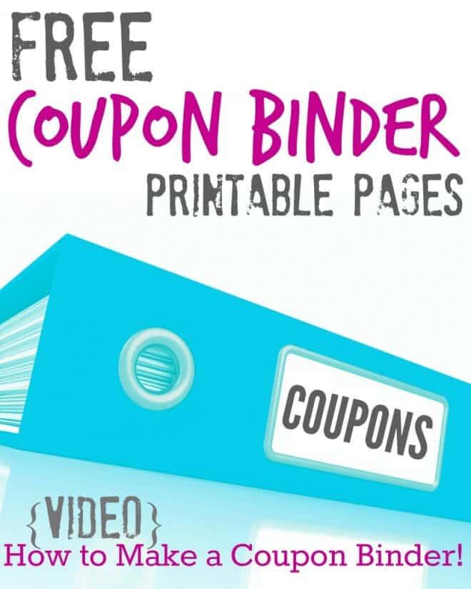free printable coupon binder pages plus a diy video