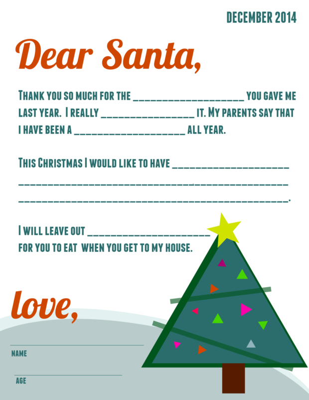 Free Printable: Letter to Santa | Spaceships and Laser Beams