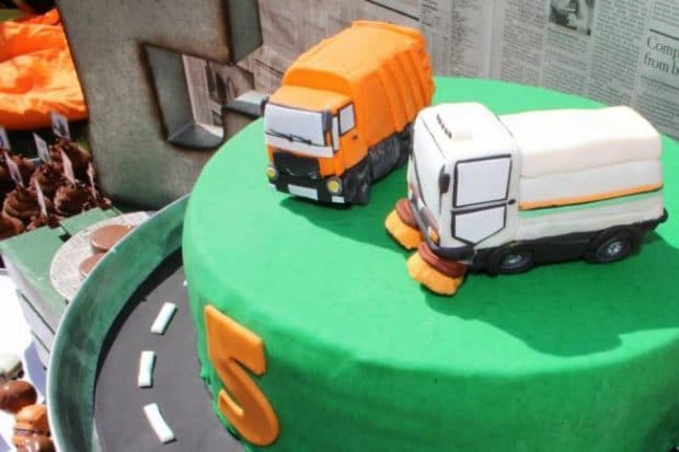 Surprising A Garbage Truck Themed Boys 5Th Birthday Party Spaceships And Funny Birthday Cards Online Elaedamsfinfo