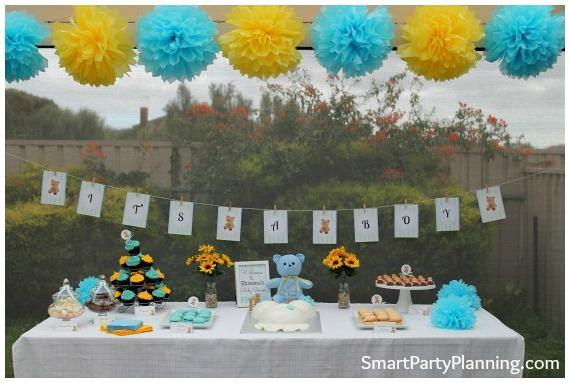 A Blue And Yellow Teddy Bear Baby Shower Spaceships And