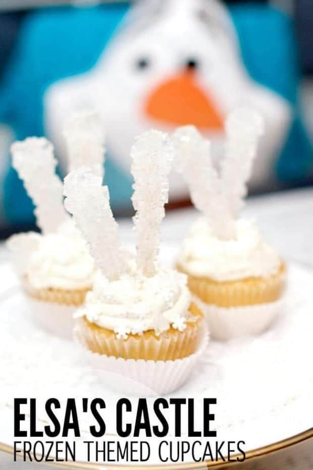 Elsa's Castle Themed Cupcakes for a Frozen Birthday Party