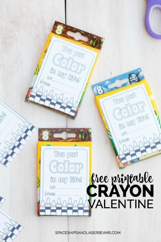 Free Printable Crayon Valentine - Candy Free Alternative for Valentines Day