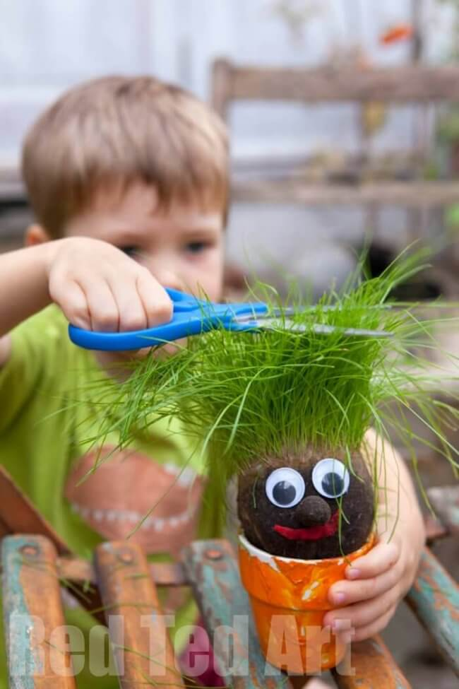 Grass Head Spring Craft for Kids