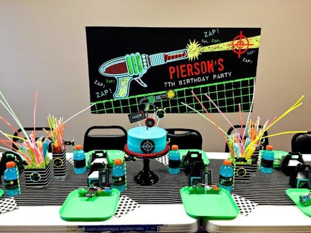 Amazing A Boys Laser Tag Birthday Party Spaceships And Laser Beams Birthday Cards Printable Riciscafe Filternl