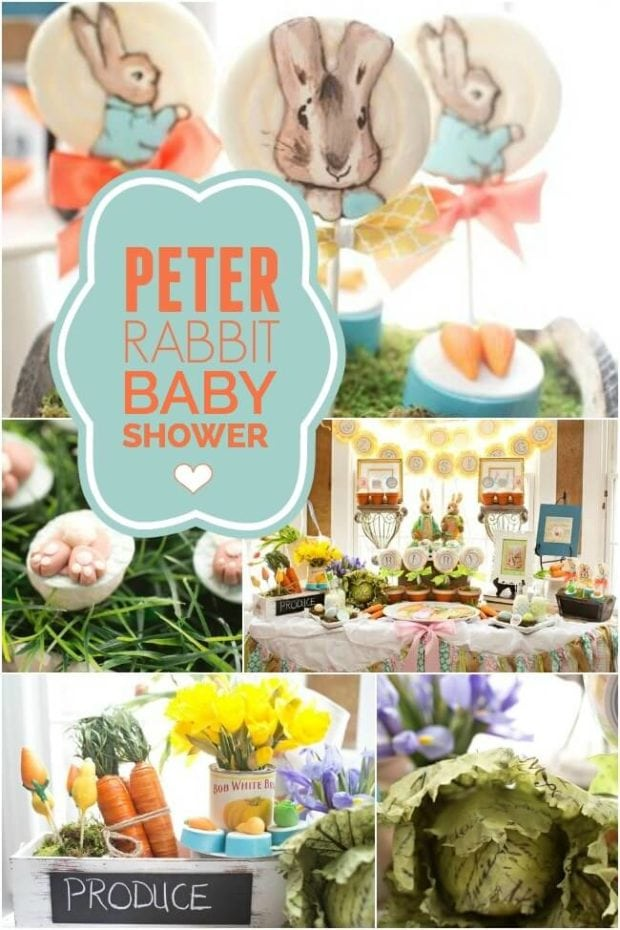 A peter rabbit inspired baby shower spaceships and laser for Baby shower decoration ideas blog