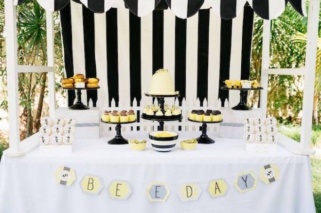 Boys Bumble Bee Birthday Party Dessert Table Ideas