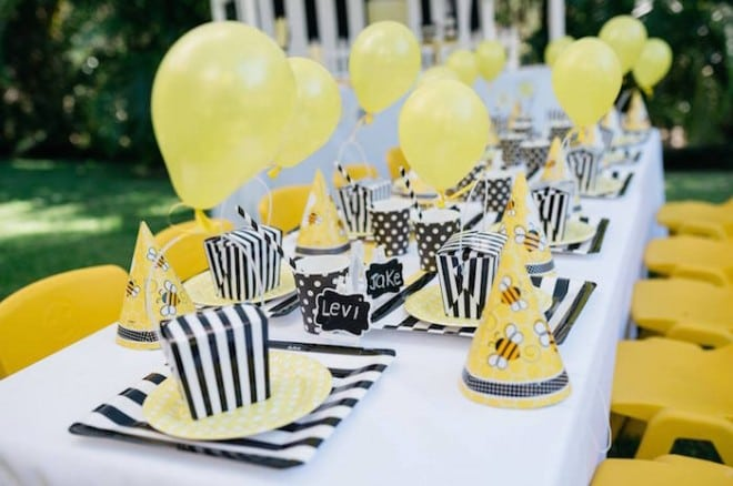 Boys Bumble Bee Birthday Party Table Ideas