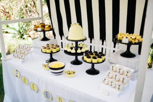Boys Bumble Bee Themed BIrthday Party Dessert Table Ideas
