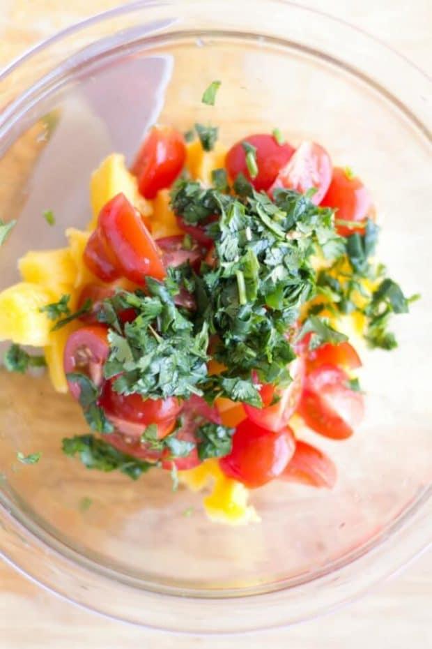 Grilled Avocado Stuffed with Shrimp Mango Salad