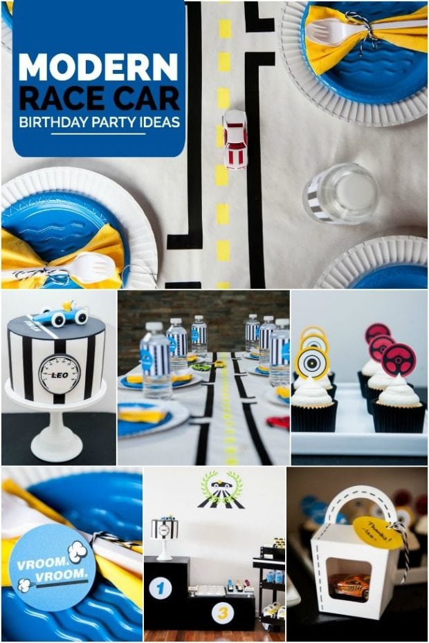 Boy's Modern Race Car Themed Birthday Party Ideas