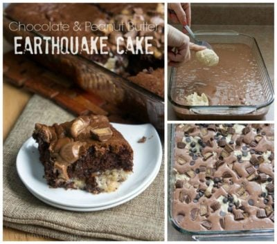 Earthquake cake made with Reese peanut butter cups