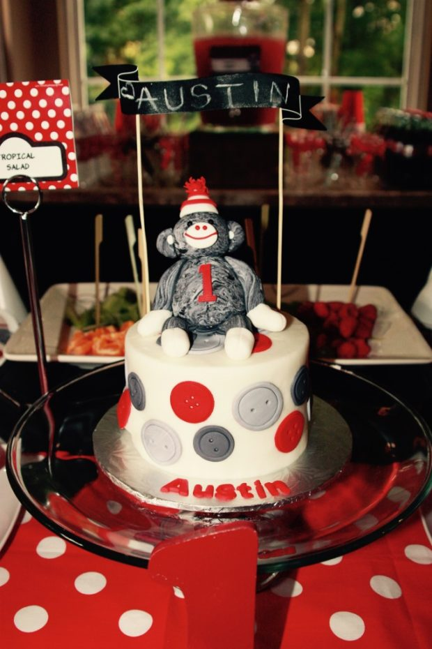 boy's 1st sock monkey birthday party theme