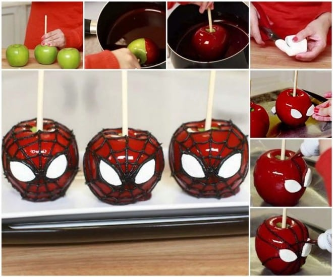 5-DIY Spiderman Candy Apples