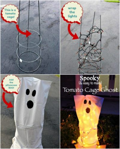 how to make tomato cage ghosts