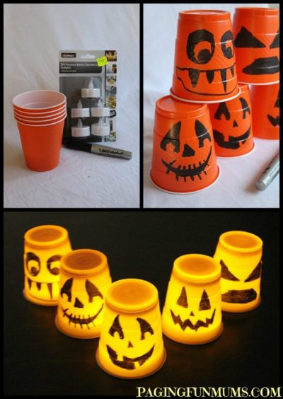 easy halloween decoration - plastic cup lantern