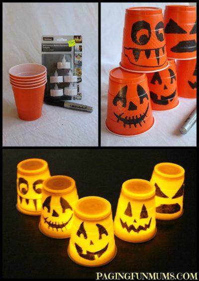 easy halloween decoration - plastic cup lantern