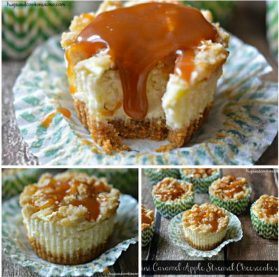 Mini Caramel Apple Streusal Cheesecakes