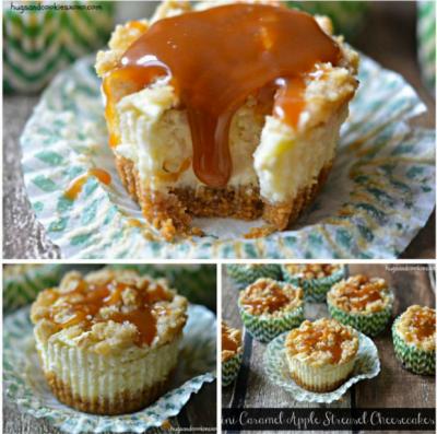 Mini Caramel Apple Streusal Cheesecakes